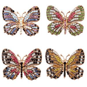 Criativa moda jóias borboleta strass coloridos broches Alloy esmaltado animal Pin Vestuário Acessórios broches delicados