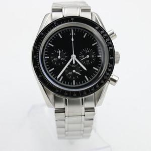 Yeni Erkekler Hız Eş Eksenli 42mm Kuvars Saatler Siyah Mens Moonwatch Profesyonel Chronograph 42mm Usta Paslanmaz Çelik İzle saatı Dial