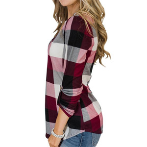 Designer Blusen Frühlings-Herbst-Mode mit V-Ausschnitt Frauen Shirts Tops Lässige Kleidung Frauen Plaid gedruckt