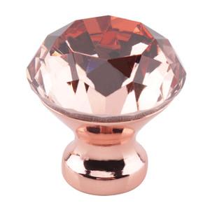 10pcs / Set Rose Gold 30mm Elmas Kristal Kabine Topuzlar Mutfak Mobilya Kapı Dolap Dolap Çekmece Pulls Kolları Donanım Kolları