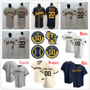 Custom 2020 New 50TH Baseball Jerseys 22 Christian Yelich 19 Robin Yount 8 Ryan Braun Lorenzo Cain Eric Thames Orlando Arcia Yasmani Grandal