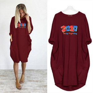 Women Fashion Dressed 2020 New Arrival Summer Casual Long Dresses Letters Number Printing Loose Lady Short Sleeve Dress 2020 Hot Selling