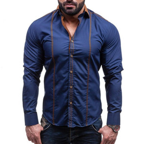 Gli uomini camicia di marca maschile Large Size Maglie a manica lunga casuale Hit colore del vestito uomini dimagriscono nero camice 4XL