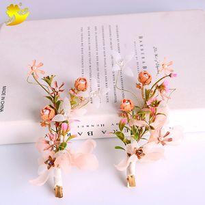 Großhandel Trendy Chiffon Blume Haarspange Handmade Simulation Perle Braut Hochzeit Braut Haarschmuck Pastoralen Mädchen Haarspangen