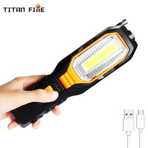 Portable Handheld USB Flashlight LED Rechargeable Work Light COB Rotatable Torch Magnet Hook 4 Mode for Car