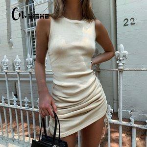CNYISHE 2020 Summer Sleeveless Bodycon Women's Dress Fashion Sheath Wrap Hips Ruched Drawstring Mini Sexy Dresses Women Vestidos