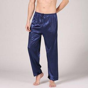 Pantaloni da uomo pigiama di seta primavera pantaloni da uomo domestici un pezzo maschile pigiama signori vestiti da notte degli indumenti da notte in una gabbia