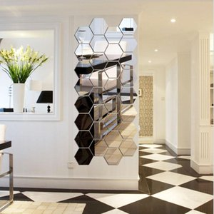 3D Hexagon Espelho acrílico Wall Stickers DIY Art Decor Adesivos de parede Home Decor Sala espelhado Sticke decorativa