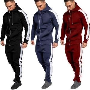 Designer 2 Pz Men inverno Set Nero Zipper Felpa con stampa Top pantaloni insiemi vestito di sport Tuta Pantalon Sudaderas Para Hombre