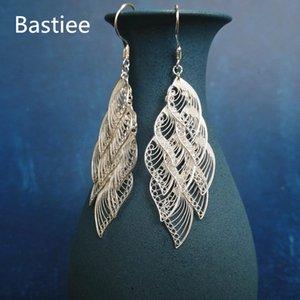 Bastiee Büyük Tüy Küpe İçin Kadınlar 999 Gümüş Takı Hmong Kostüm El yapımı Bırak Dangle Küpe Mücevher