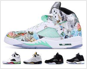 High quality Jumpman 5 Island Green Inspire Satin Bred Fresh wings 5s PSG Black men Basketball Shoes PARIS Laney OG mens sports KC23