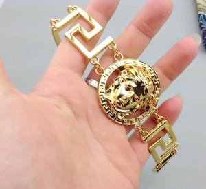 Bracciali a catena Medusha di lusso da uomo Bracciali Gioielli cubani Miami Hip Hop placcati in oro placcato di alta qualità