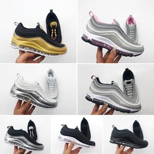Nike air max 97 Детские Детская Обувь Kanye West Zebra Кроссовки 2018 Детская Спортивная Обувь