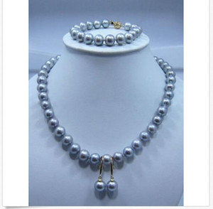 "NATURAL SOUTH SEA AAA9-10MM 그레이 PEARL NECKLACE 18 ""팔찌 7.5-8""귀고리 14K"