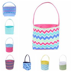 Easter Bunny Buckets Plaid Kids Easter Basket Rabbit Ears ZigZag Bucket Canvas Storage Handbag Easter Eggs Round Bottom Candy Gift Bag D7332