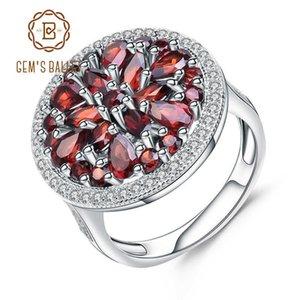 3.88ct Ballet de la gema natural granate rojo anillo de piedras preciosas 925 anillos de cóctel de la vendimia de plata esterlina Para J190706 joyería fina Mujeres