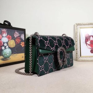 Frauen wiederverwendbare Handtaschen Tasche 2019 neue Muster tragbare kleine quadratische Paket Messenger Abzeichen Kette Paket Crossbody Geldbörsen Sling 25 * 13.5 * 7CM01