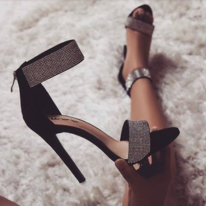 Luxury women's shoes sandals shiny rhinestones all-match high-heeled shoes high-rise shoes hollow black apricot size 35-43 suede