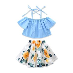 2019 Little Girls cinghie gonna floreale Set di vestiti Toddler Baby Girl Off-spalla Top blu + gonna bambini Outfits Estate 1-6T