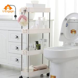 UENGAGE nuevo rack de baño ruedas de plástico delgado Slide Torre Fácil móvil Ensamble cocina para guardar objetos organizador del hogar del estante SH190920
