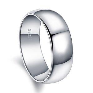 925 Silver Ring on-line celebridade vivo Japonês Coreano Simples lado brilhante Moda Forefinger Individual lettering anel livre