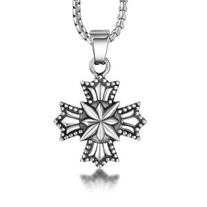 Hemiston star with Cross Europe pattern retro fashion titanium steel cross pendant men pendant necklace punk jewelry