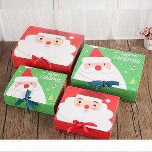 Рождественская Подарочная Коробка Сладости Упаковка Печенье Бумажные Коробки С Бантом Санта Клаус Украшения Оберточная Коробка Для Детей Партия Пакет