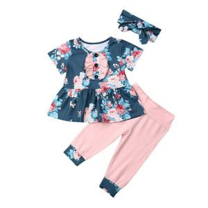 AU Neugeborenes Kleinkind Blumenbaby-Mädchen-Ausstattung Kleidung Top-Kleid + Gamaschen-Hosen-Set Baumwolle AllSeasons Fairies Short Sleeve Fashion