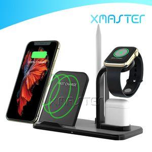 3 en 1 10W Qi chargeur sans fil Dock Station de recharge rapide support pour AirPod 2 chargeurs Apple Suivre avec xMaster Packaging détail