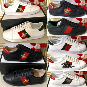 Original Box New Designer Shoes das mulheres dos homens de alta qualidade Designer de Luxo Outdoor Sports Shoes Casual Shoes Ace Femininos Bee Stripe Tamanho 35-47