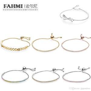 Donia 100% 925 Sterling Silver SHINE ABELHA pulseira do arco-íris Sparkling Strand Bracelet Rose Charming BRILHANTE pulseira arco ajustável