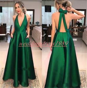 Elegancia con cuello en v sin espalda vestidos de baile con bolsillo bola de color verde oscuro satinado junior formal vestido de noche Vestido de fiesta Vestidos largos de fiesta largos