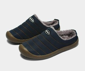 Semi-heel Shoes Winter Mens Womens Velvet Slipper Warm Outdoor Indoor Shoes Home Soft Slip Wear and Drag Dual-purpose