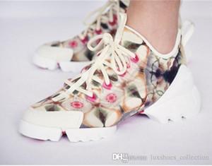 2019 Modedesigner-Blumenfrauen-Turnschuh-Frauen-Neopren-Ripsband D-Connect Schuhe, Dame Wrap-around Rubber Sole Casual Shoes