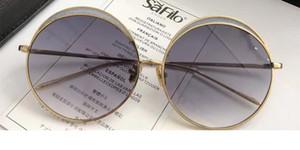 LF 802 Linda Farrow Occhiali da sole di lusso con rivestimento a specchio delle lenti UV Protection Donne Designer Vintage rotonda telaio superiore Fashiong