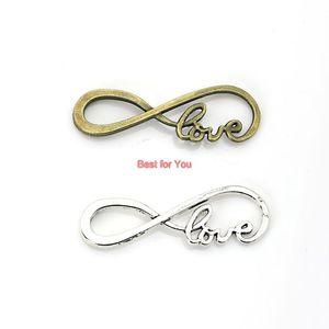All'ingrosso - Infinity Hope Love Charm Pendant Fit Bracciale Collana gioielli in argento tibetano placcato fai da te accessori 38x13mm 10pcs