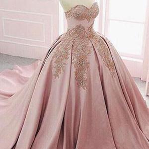 2019 Vintage coloré robe de balle robes de mariée rougir rose satin satin satin satin sans manches dentelle appliques robes de mariée Train de cour