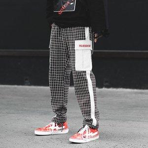 Hi-calle de Calle Las nuevas llegadas del enrejado Joggers Hip Hop Hombres Pantalones Moda Casual alta calidad de Carga pantalones para los hombres
