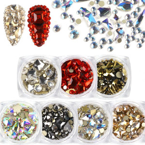 1box Cristal Flatback Nail Strass mixte Etoiles Coeur Goutte d'Eau Nails Art 3D Diamant Gems Strass Pierre DIY Décoration NL1607