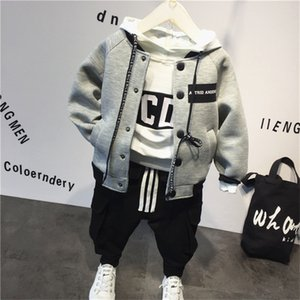 Boys Suits Autumn winter Boys Clothes Baseball jacket +hoodie+pants 2019 New Children Clothing Set Cotton Kids Outfits For 2-7Yr T200707