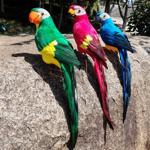 1PCS 45 centimetri piuma artificiale di colore Parrot Ornament Decoration Craft Foam simulati Uccelli giardino della casa della festa nuziale della Y200106