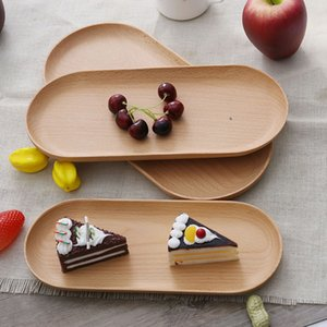 Wooden Tray Dinner Plate Food Dessert Coffee Plates Storage Trays Solid Wood Oval Cake Sushi Dish Bread Snack Tray