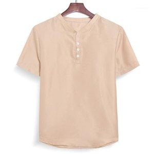 Fashion Natural Color Short Sleeve Shirts Casual Pullover Single Breasted Shirts Mens Clothing Summer Mens Designer Shirts