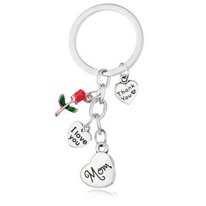 Herz Schlüsselanhänger Ich liebe dich Dad Mom Schwester Tochter Tante Zink-Legierung Keychain Mode-Rosen-Blume Keychain Charms