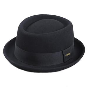 Sedancasesa 100% Австралия Шерсть Мужской Fedora Hat Свиной Pie Шляпа для Классических церквей войлока Hat 2019 Новой осень зима Y200110