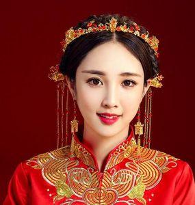 Show de la corona roja china Boda tocado de lujo borla de oro Phoenix Crown Bride