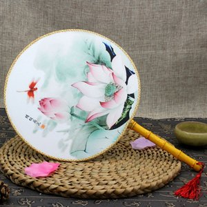 Cheap Decorative Fans Chinese Style Round Hand Held Folding Silk Fan For Wedding Event Party Supplies