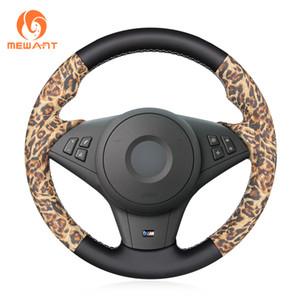 MEWANT Leopard Artificial couro cosido à mão Steering não derrapante tampa da roda de BMW E60 E63 E64 Cabrio M6 2005-2010