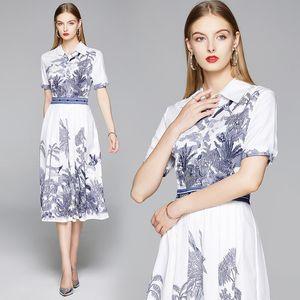 Summer 2020 Runway Elegant Women White Designer Ladies Casual Office Lapel Shirt Dress Button Short Sleeve Vintage Print Party Prom Dresses