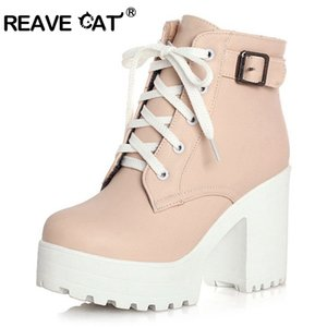 REAVE CAT 3 Color Winter Lace-Up Sexy Women Boots Fashion Platform high square heels Black Buckle Ankle boots Plus Size 34-43